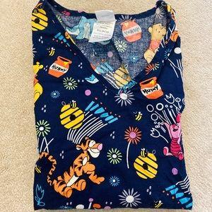 Disney brand Pooh bear scrub top